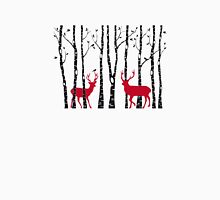 Christmas deers in birch tree forest Womens Fitted T-Shirt