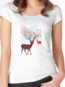 Christmas deer with tree branch antlers and birds Women's Fitted Scoop T-Shirt