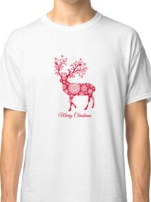 Christmas deer with snowflakes pattern Classic T-Shirt