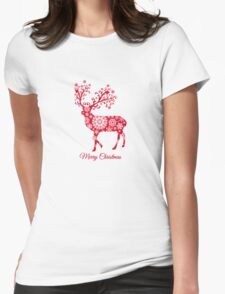 Christmas deer with snowflakes pattern Womens Fitted T-Shirt