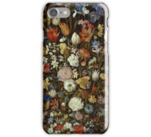 Jan Brueghel The Elder - Flowers In A Wooden Vessel . Vintage surrealism  oil famous painting : still life with flowers, flowers, peonies, roses, tulips, floral flora, wonderful flower. iPhone Case/Skin