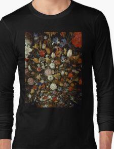 Jan Brueghel The Elder - Flowers In A Wooden Vessel . Vintage surrealism oil famous painting : still life with flowers, flowers, peonies, roses, tulips, floral flora, wonderful flower. Long Sleeve T-Shirt