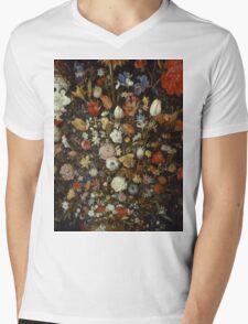 Jan Brueghel The Elder - Flowers In A Wooden Vessel . Vintage surrealism oil famous painting : still life with flowers, flowers, peonies, roses, tulips, floral flora, wonderful flower. Mens V-Neck T-Shirt