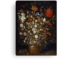 Jan Brueghel The Elder - Flowers In A Wooden Vessel . Vintage surrealism  oil famous painting : still life with flowers, flowers, peonies, roses, tulips, floral flora, wonderful flower. Canvas Print