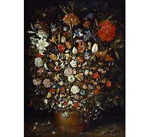 Jan Brueghel The Elder - Flowers In A Wooden Vessel . Vintage surrealism oil famous painting : still life with flowers, flowers, peonies, roses, tulips, floral flora, wonderful flower. Photographic Print