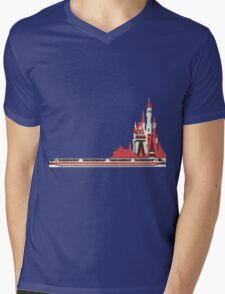 Monorail Castle Mens V-Neck T-Shirt
