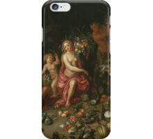 Jan Brueghel - Landscape With Ceres. Vintage surrealism  oil famous painting : goddess Ceres, garden, floral flora, still life with fruits and vegetables, fruit, vegetable, wonderful flowers. iPhone Case/Skin