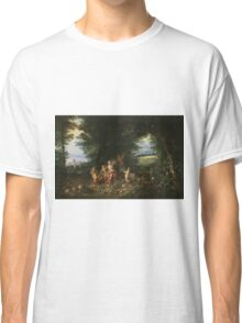 Jan Brueghel - Landscape With Ceres. Vintage surrealism  oil famous painting : goddess Ceres, garden, floral flora, still life with fruits and vegetables, fruit, vegetable, wonderful flowers. Classic T-Shirt