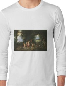 Jan Brueghel - Landscape With Ceres. Vintage surrealism  oil famous painting : goddess Ceres, garden, floral flora, still life with fruits and vegetables, fruit, vegetable, wonderful flowers. Long Sleeve T-Shirt