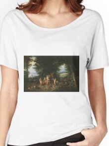 Jan Brueghel - Landscape With Ceres. Vintage surrealism  oil famous painting : goddess Ceres, garden, floral flora, still life with fruits and vegetables, fruit, vegetable, wonderful flowers. Women's Relaxed Fit T-Shirt