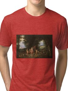 Jan Brueghel - Landscape With Ceres. Vintage surrealism  oil famous painting : goddess Ceres, garden, floral flora, still life with fruits and vegetables, fruit, vegetable, wonderful flowers. Tri-blend T-Shirt