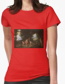 Jan Brueghel - Landscape With Ceres. Vintage surrealism oil famous painting : goddess Ceres, garden, floral flora, still life with fruits and vegetables, fruit, vegetable, wonderful flowers. Womens Fitted T-Shirt