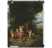 Jan Brueghel - Landscape With Ceres. Vintage surrealism  oil famous painting : goddess Ceres, garden, floral flora, still life with fruits and vegetables, fruit, vegetable, wonderful flowers. iPad Case/Skin