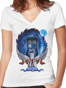 The Angel with time travel Box Women's Fitted V-Neck T-Shirt