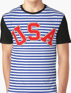 Trendy Breton Stripes with USA Red White and Blue Graphic T-Shirt