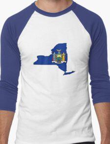 New york flag New York state outline Men's Baseball ¾ T-Shirt