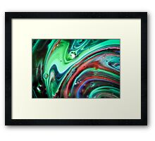 Swirling Abstract in Green by Laura L. Leatherwood Framed Print