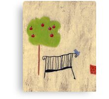 The bench in the garden Canvas Print