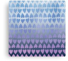 Painted Heart Pattern - Blue Canvas Print