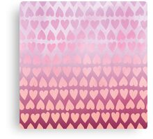 Painted Heart Pattern - Pink Canvas Print