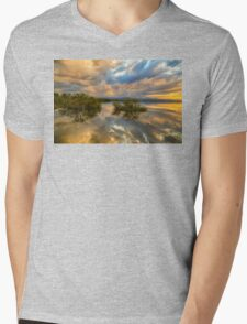 Stormy Sunset Reflections Mens V-Neck T-Shirt