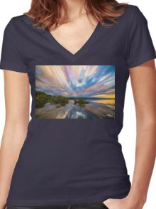 Sunset  Lake Reflections Timed Stack Women's Fitted V-Neck T-Shirt