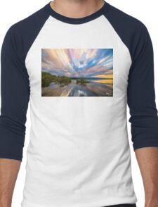 Sunset  Lake Reflections Timed Stack Men's Baseball ¾ T-Shirt