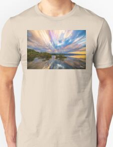 Sunset  Lake Reflections Timed Stack Unisex T-Shirt