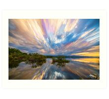 Sunset  Lake Reflections Timed Stack Art Print
