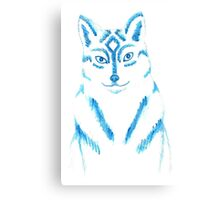 Blue and White Wolf Canvas Print