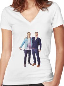 Chris Evans and Sebastian Stan Women's Fitted V-Neck T-Shirt