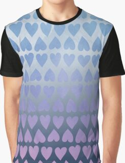 Painted Heart Pattern - Blue Graphic T-Shirt