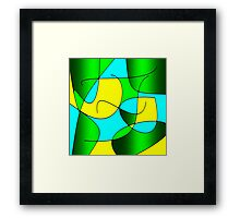 ABSTRACT CURVES-1 (Greens, Yellows & Light Blues-3)-(9000 x 9000 px) Framed Print