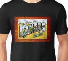 Vintage Kansas State Greeting Post Card Unisex T-Shirt