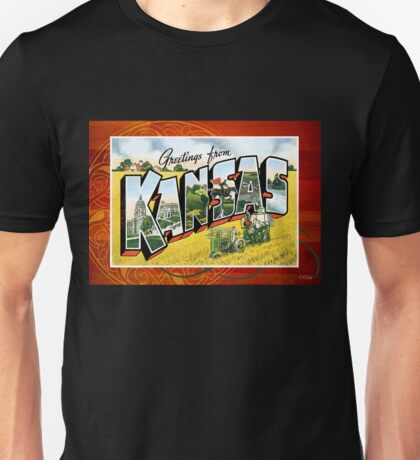 Vintage Kansas State Greeting Post Card Unisex T-Shirt