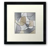 ABSTRACT CURVES-1 (Greys & Beiges)-(9000 x 9000 px) Framed Print