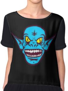 Ugly Troll Monster Zombie Themed Graphic Chiffon Top