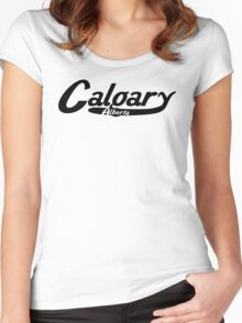 Calgary Alberta Vintage Logo Women's Fitted Scoop T-Shirt