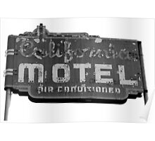 Californa Motel Neon Sign B&W Poster