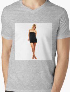 Beautiful model girl posing nu in cosplay costume Mens V-Neck T-Shirt