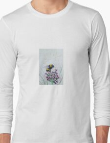 Bumble Bee and Flower Long Sleeve T-Shirt