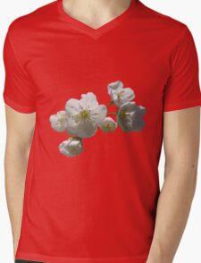 cherries in blosssom on buttercup yellow Mens V-Neck T-Shirt