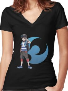 Pokémon Sun and Pokémon Moon - Trainer (Male) w/ Moon Logo Women's Fitted V-Neck T-Shirt