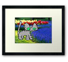 Cat Enjoys The Garden Framed Print