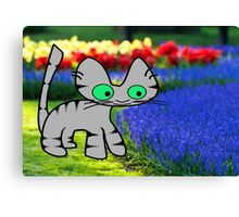 Cat Enjoys The Garden Canvas Print