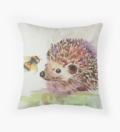 Hedgehog and Bumble bee  Throw Pillow