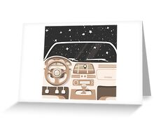 Vehicle interior. Inside car. Night sky Greeting Card