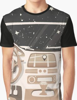 Vehicle interior. Inside car. Night sky Graphic T-Shirt