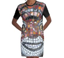 Mosaic Tiger mask Graphic T-Shirt Dress