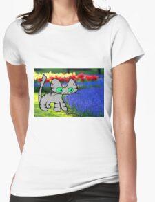 Cat Enjoys The Garden Womens Fitted T-Shirt